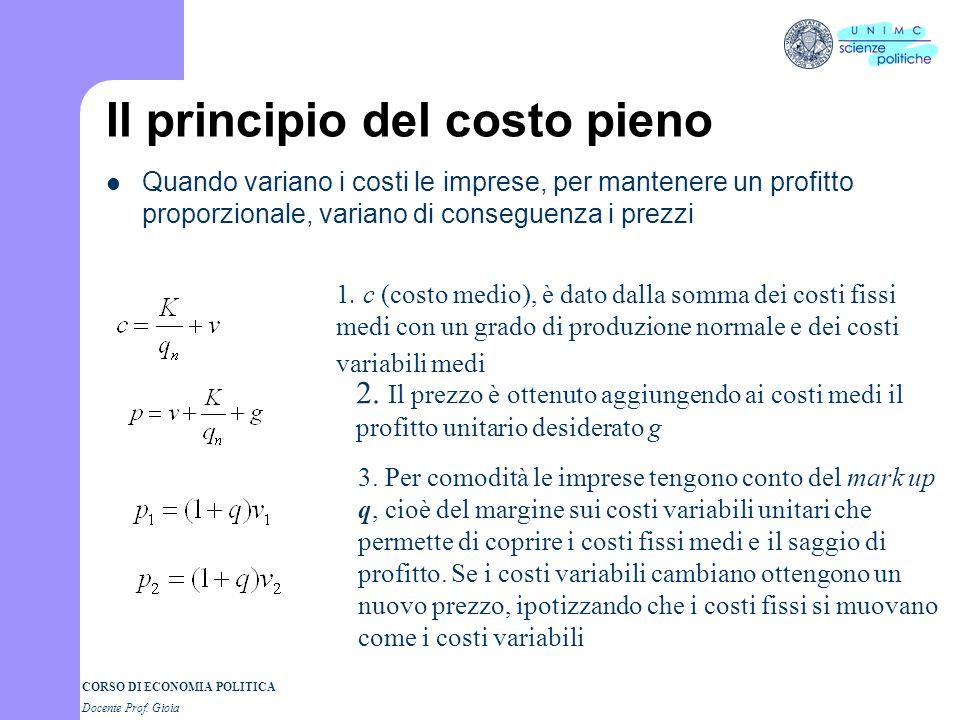 CORSO DI ECONOMIA POLITICA Docente Prof. Gioia Il principio del costo pieno Quando variano i costi le imprese, per mantenere un profitto proporzionale