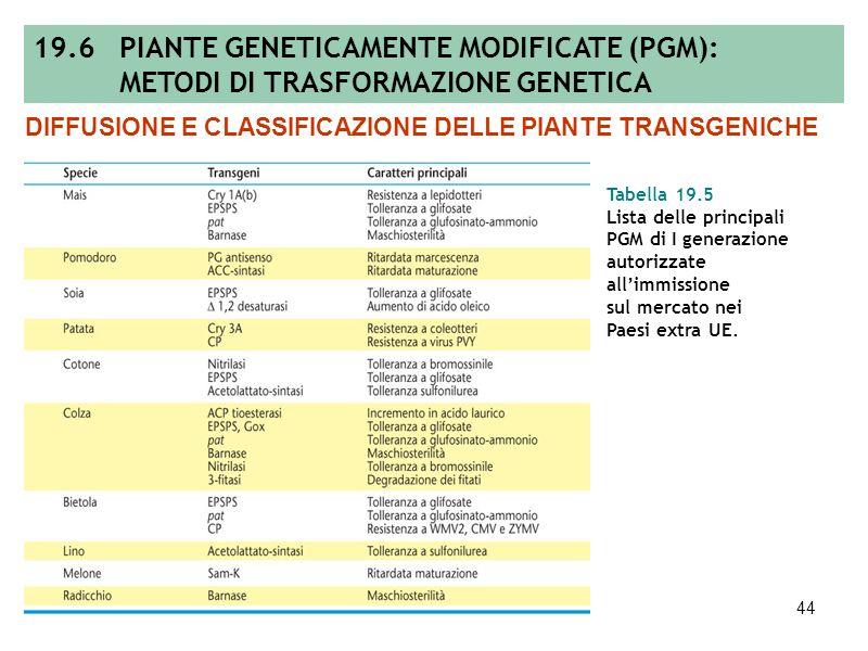 43 Figura 19.39 Statistiche relative alle piante geneticamente modificate. DIFFUSIONE E CLASSIFICAZIONE DELLE PIANTE TRANSGENICHE 19.6 PIANTE GENETICA