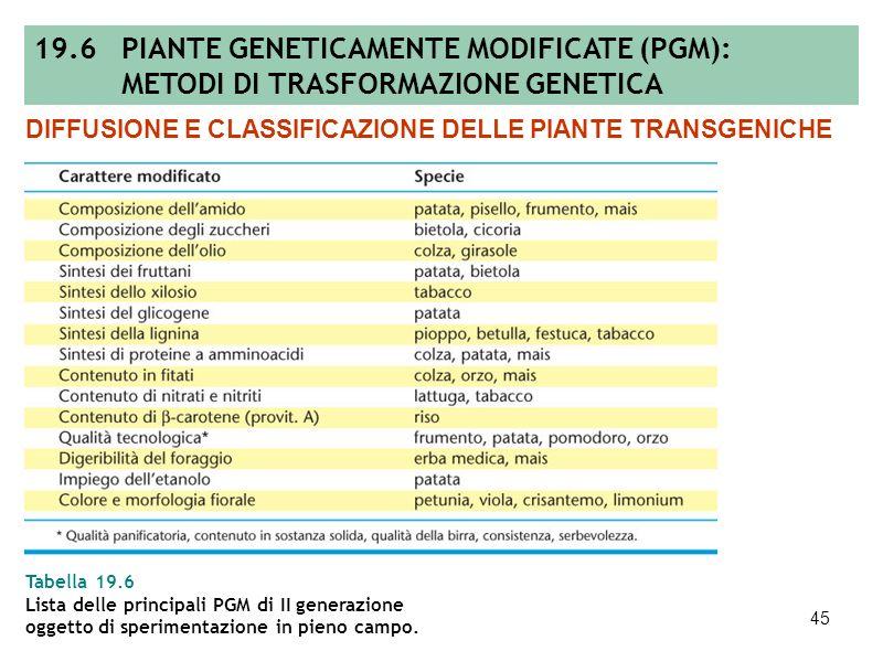 44 Tabella 19.5 Lista delle principali PGM di I generazione autorizzate allimmissione sul mercato nei Paesi extra UE. DIFFUSIONE E CLASSIFICAZIONE DEL