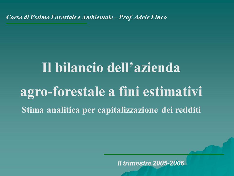 Corso di Estimo Forestale e Ambientale – Prof. Adele Finco II trimestre 2005-2006 Il bilancio dellazienda agro-forestale a fini estimativi Stima anali