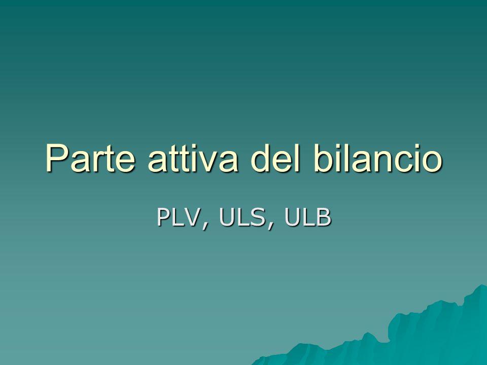 Parte attiva del bilancio PLV, ULS, ULB