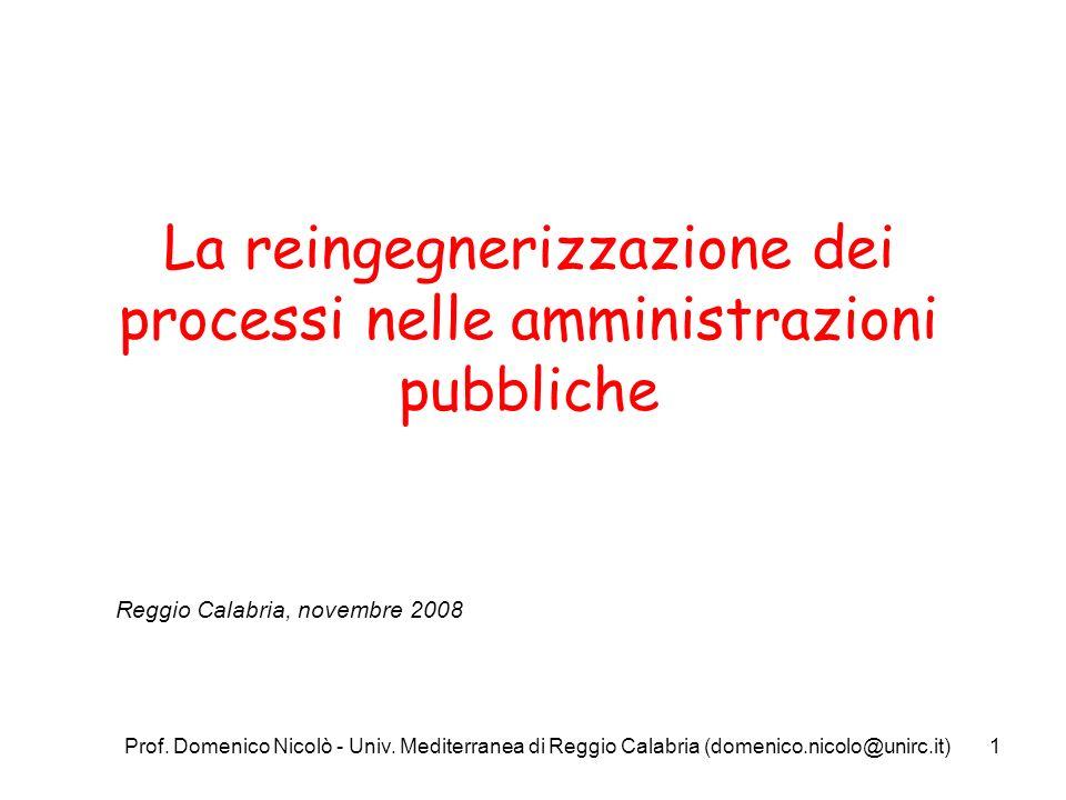Prof. Domenico Nicolò - Univ. Mediterranea di Reggio Calabria (domenico.nicolo@unirc.it)1 La reingegnerizzazione dei processi nelle amministrazioni pu