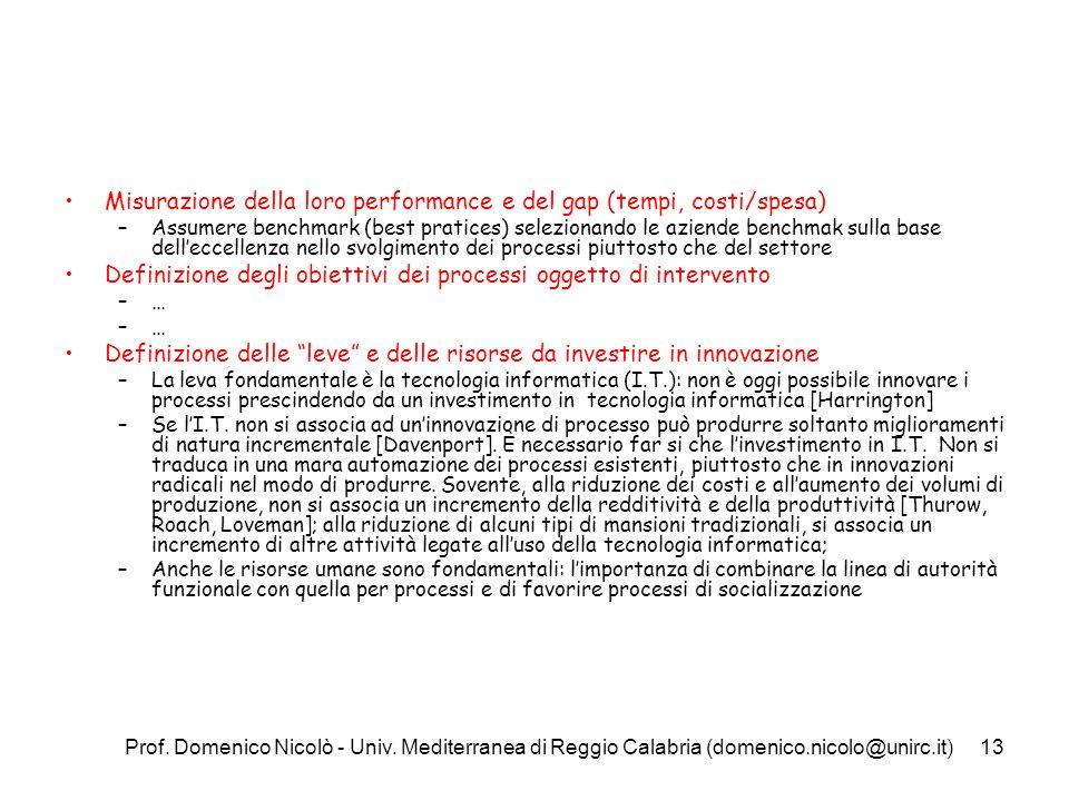 Prof. Domenico Nicolò - Univ. Mediterranea di Reggio Calabria (domenico.nicolo@unirc.it)13 Misurazione della loro performance e del gap (tempi, costi/