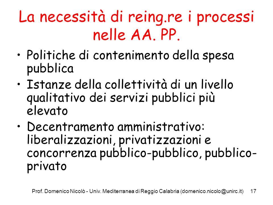 Prof. Domenico Nicolò - Univ. Mediterranea di Reggio Calabria (domenico.nicolo@unirc.it)17 La necessità di reing.re i processi nelle AA. PP. Politiche