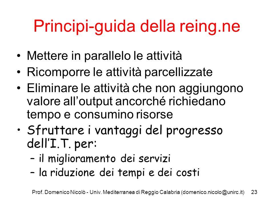 Prof. Domenico Nicolò - Univ. Mediterranea di Reggio Calabria (domenico.nicolo@unirc.it)23 Principi-guida della reing.ne Mettere in parallelo le attiv