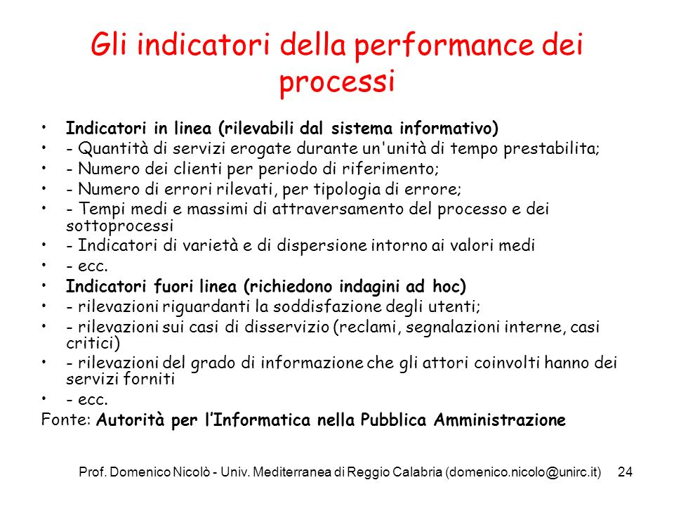 Prof. Domenico Nicolò - Univ. Mediterranea di Reggio Calabria (domenico.nicolo@unirc.it)24 Gli indicatori della performance dei processi Indicatori in