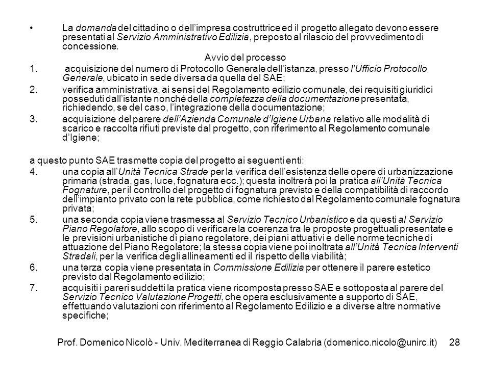 Prof. Domenico Nicolò - Univ. Mediterranea di Reggio Calabria (domenico.nicolo@unirc.it)28 La domanda del cittadino o dellimpresa costruttrice ed il p