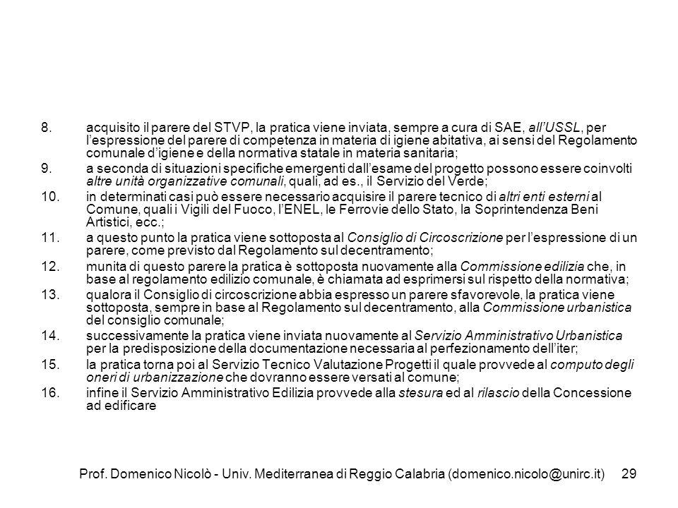 Prof. Domenico Nicolò - Univ. Mediterranea di Reggio Calabria (domenico.nicolo@unirc.it)29 8.acquisito il parere del STVP, la pratica viene inviata, s