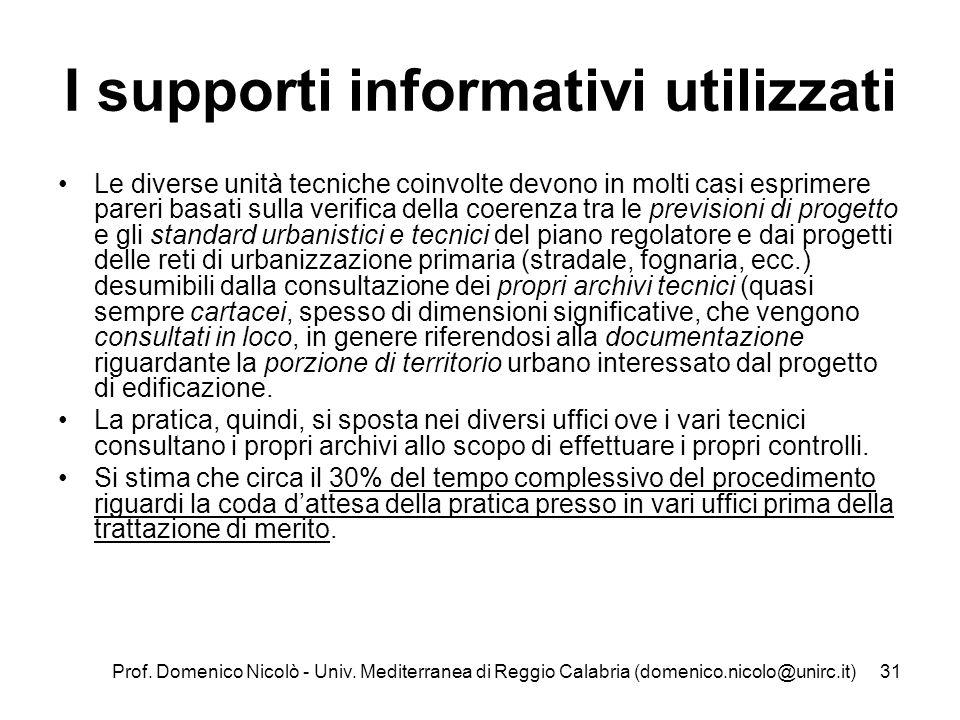 Prof. Domenico Nicolò - Univ. Mediterranea di Reggio Calabria (domenico.nicolo@unirc.it)31 I supporti informativi utilizzati Le diverse unità tecniche