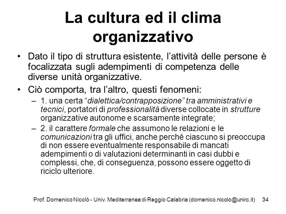 Prof. Domenico Nicolò - Univ. Mediterranea di Reggio Calabria (domenico.nicolo@unirc.it)34 La cultura ed il clima organizzativo Dato il tipo di strutt