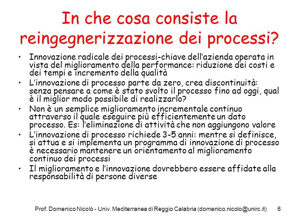 Prof. Domenico Nicolò - Univ. Mediterranea di Reggio Calabria (domenico.nicolo@unirc.it)6 In che cosa consiste la reingegnerizzazione dei processi? In