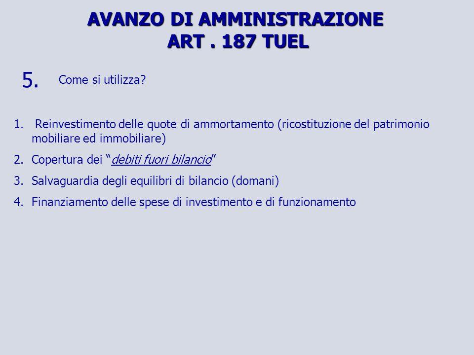 AVANZO DI AMMINISTRAZIONE ART. 187 TUEL 5. Come si utilizza.