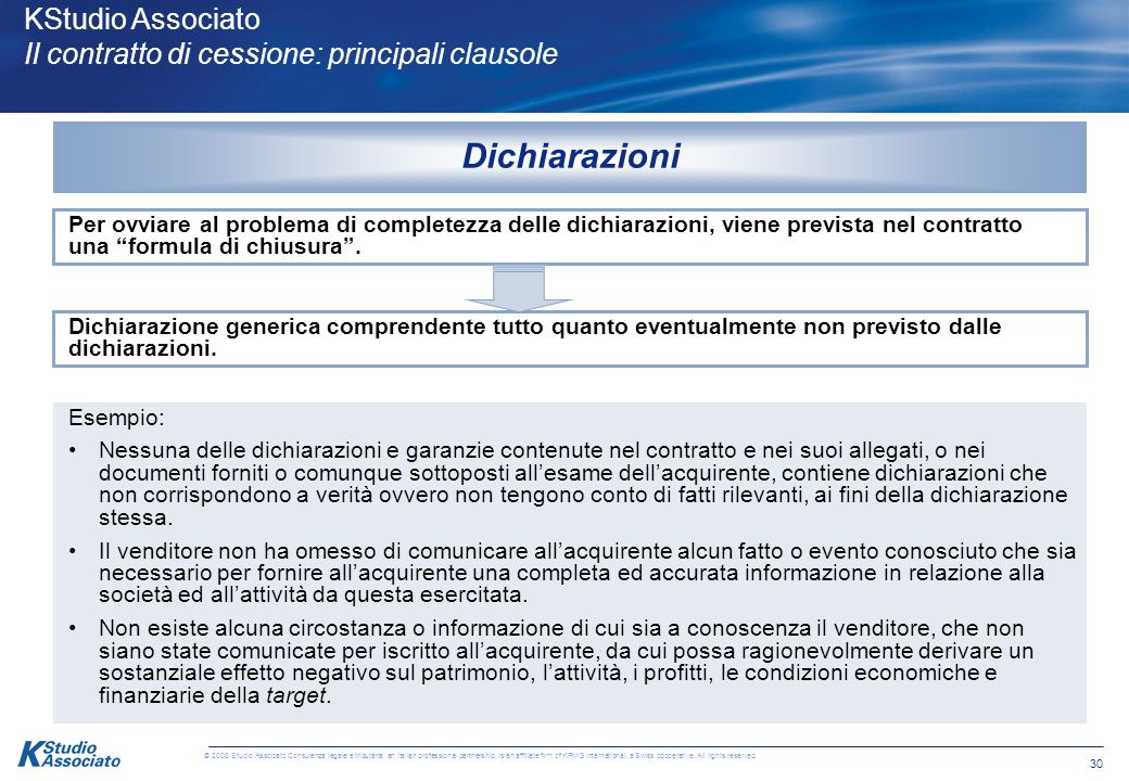 29 © 2008 Studio Associato Consulenza legale e tributaria, an Italian professional partnership, is an affiliate firm of KPMG International, a Swiss cooperative.