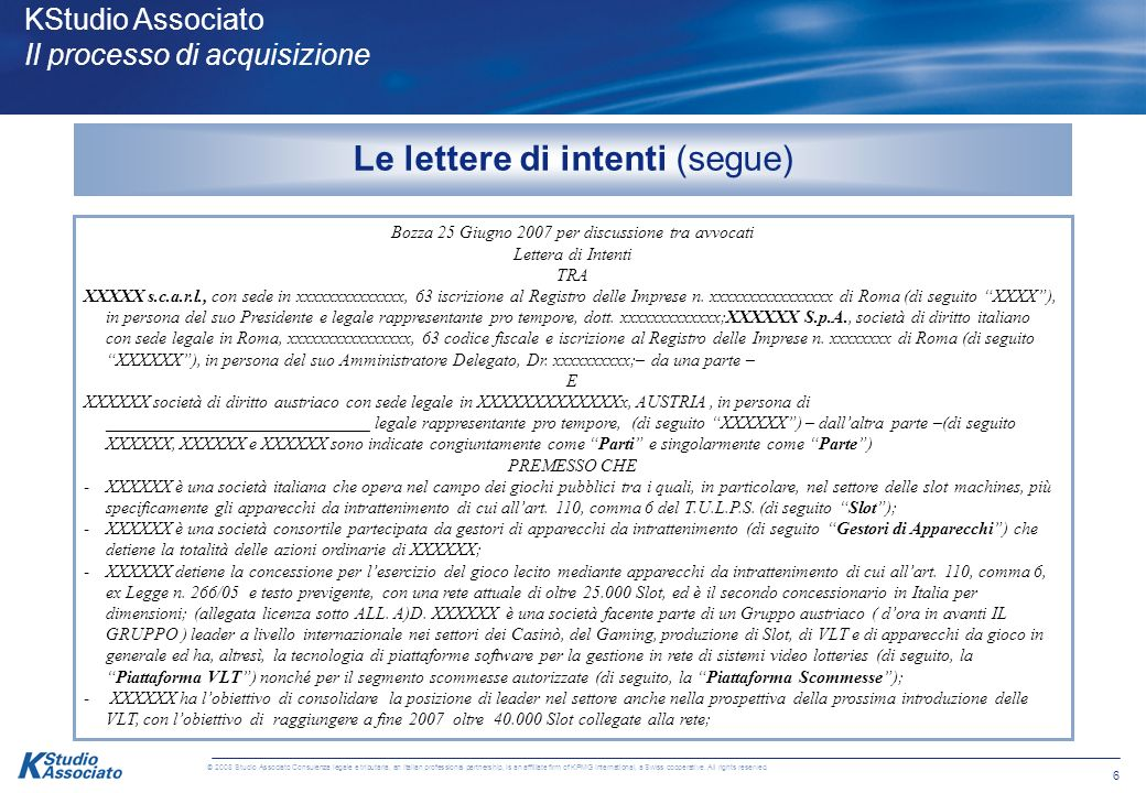 5 © 2008 Studio Associato Consulenza legale e tributaria, an Italian professional partnership, is an affiliate firm of KPMG International, a Swiss cooperative.