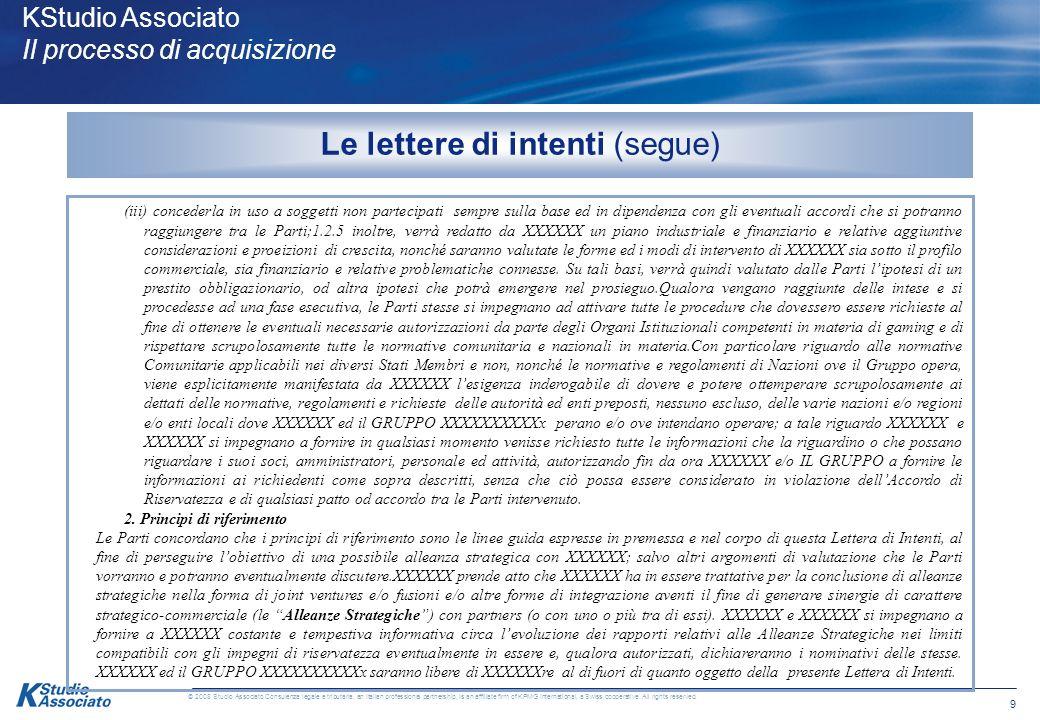 9 © 2008 Studio Associato Consulenza legale e tributaria, an Italian professional partnership, is an affiliate firm of KPMG International, a Swiss cooperative.
