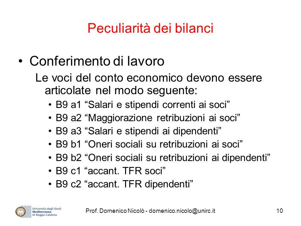 Prof. Domenico Nicolò - domenico.nicolo@unirc.it10 Peculiarità dei bilanci Conferimento di lavoro Le voci del conto economico devono essere articolate