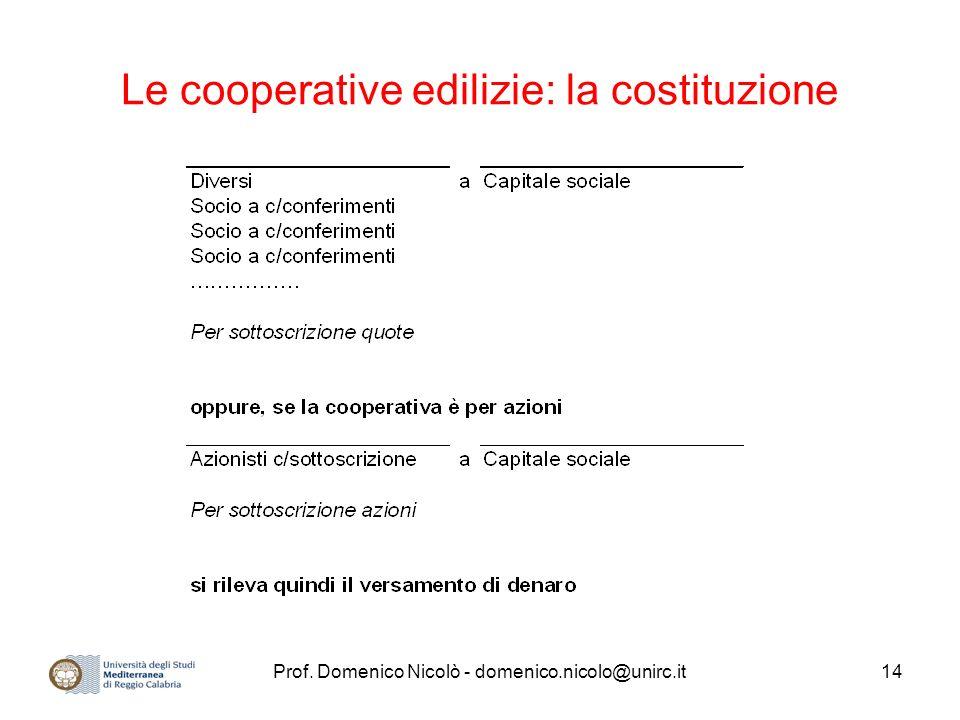 Prof. Domenico Nicolò - domenico.nicolo@unirc.it14 Le cooperative edilizie: la costituzione