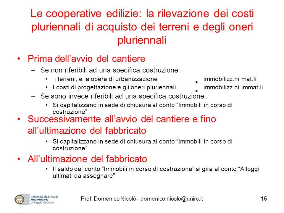 Prof. Domenico Nicolò - domenico.nicolo@unirc.it15 Le cooperative edilizie: la rilevazione dei costi pluriennali di acquisto dei terreni e degli oneri