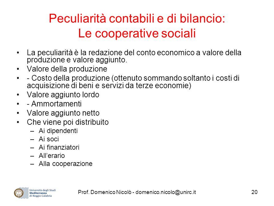 Prof. Domenico Nicolò - domenico.nicolo@unirc.it20 Peculiarità contabili e di bilancio: Le cooperative sociali La peculiarità è la redazione del conto