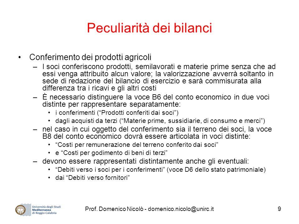 Prof. Domenico Nicolò - domenico.nicolo@unirc.it9 Peculiarità dei bilanci Conferimento dei prodotti agricoli –I soci conferiscono prodotti, semilavora