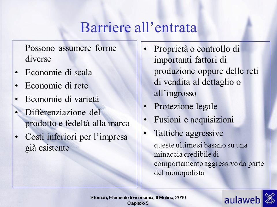 Sloman, Elementi di economia, Il Mulino, 2010 Capitolo 5 Barriere allentrata Possono assumere forme diverse Economie di scala Economie di rete Economi