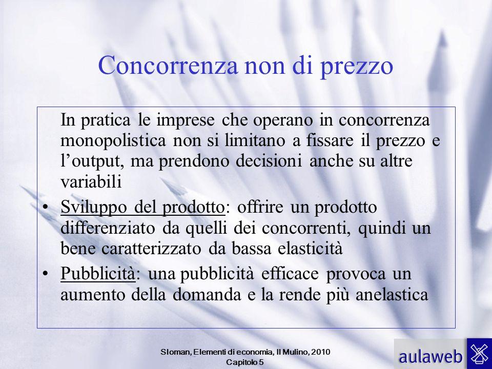 Sloman, Elementi di economia, Il Mulino, 2010 Capitolo 5 Concorrenza non di prezzo In pratica le imprese che operano in concorrenza monopolistica non