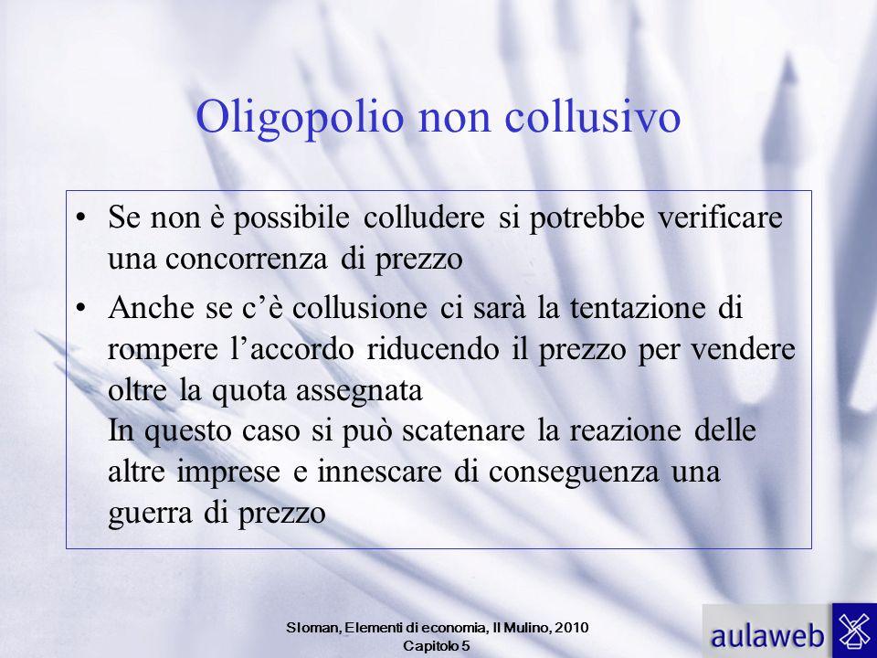 Sloman, Elementi di economia, Il Mulino, 2010 Capitolo 5 Oligopolio non collusivo Se non è possibile colludere si potrebbe verificare una concorrenza