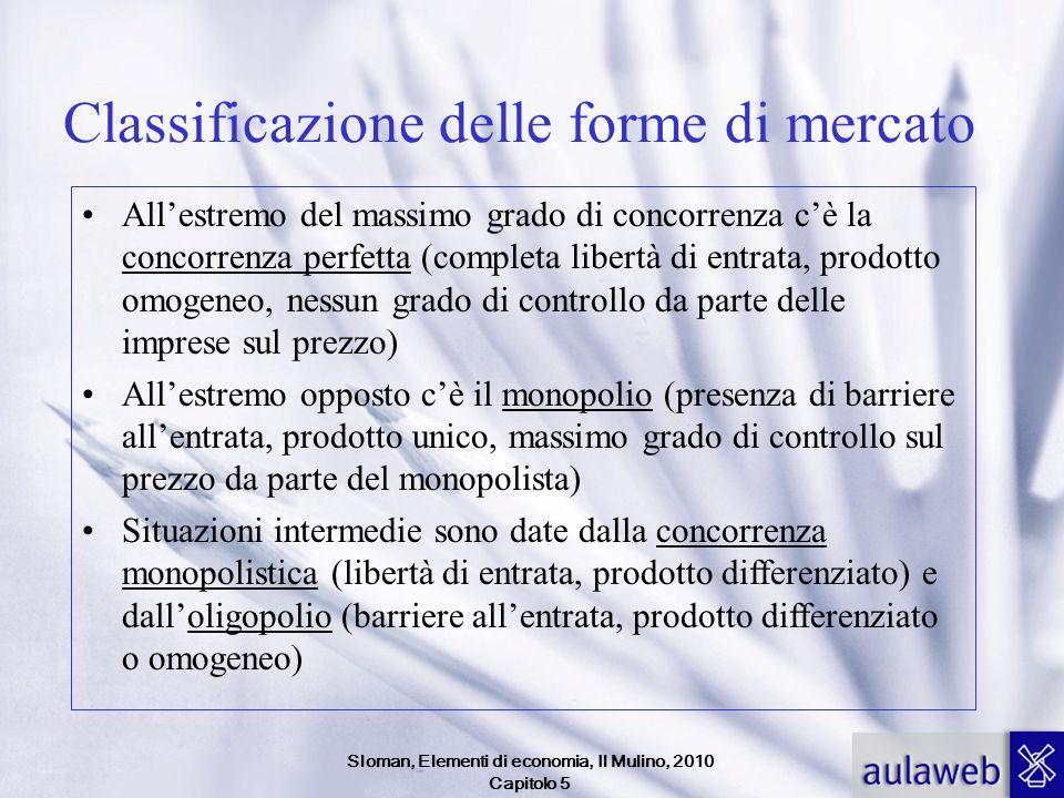 Sloman, Elementi di economia, Il Mulino, 2010 Capitolo 5 Classificazione delle forme di mercato Allestremo del massimo grado di concorrenza cè la conc