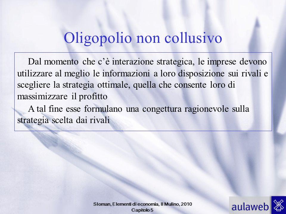 Sloman, Elementi di economia, Il Mulino, 2010 Capitolo 5 Oligopolio non collusivo Dal momento che cè interazione strategica, le imprese devono utilizz