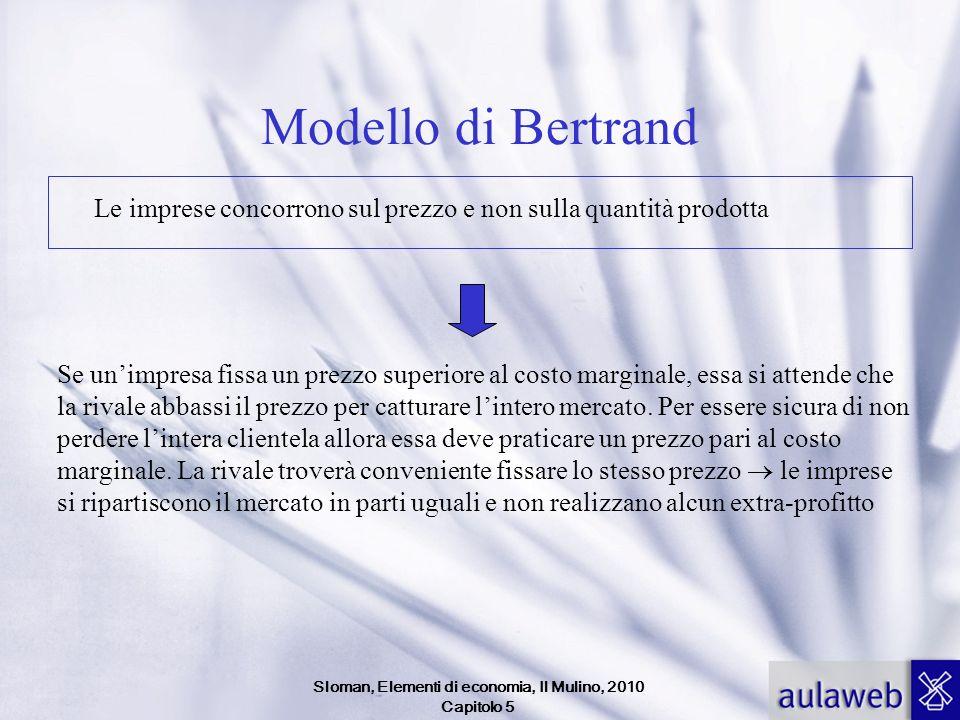 Sloman, Elementi di economia, Il Mulino, 2010 Capitolo 5 Modello di Bertrand Le imprese concorrono sul prezzo e non sulla quantità prodotta Se unimpre