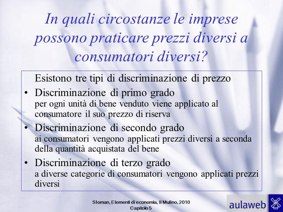 Sloman, Elementi di economia, Il Mulino, 2010 Capitolo 5 In quali circostanze le imprese possono praticare prezzi diversi a consumatori diversi? Esist