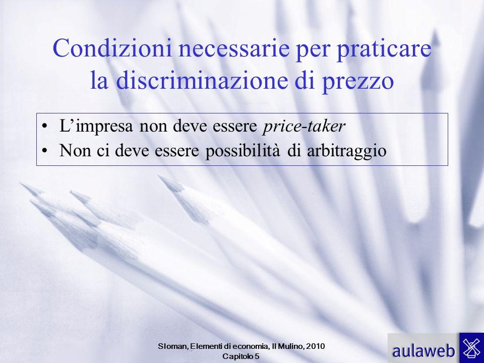 Sloman, Elementi di economia, Il Mulino, 2010 Capitolo 5 Condizioni necessarie per praticare la discriminazione di prezzo Limpresa non deve essere pri