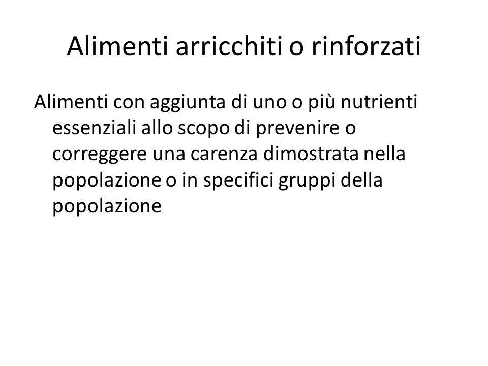 Alimenti arricchiti o rinforzati Alimenti con aggiunta di uno o più nutrienti essenziali allo scopo di prevenire o correggere una carenza dimostrata n