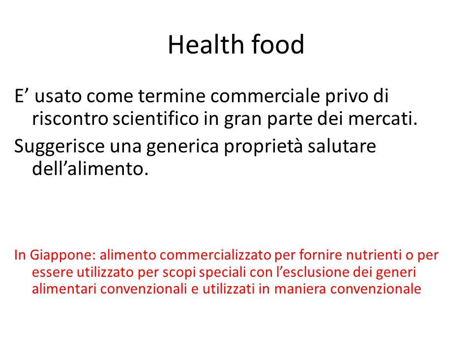 Health food E usato come termine commerciale privo di riscontro scientifico in gran parte dei mercati. Suggerisce una generica proprietà salutare dell