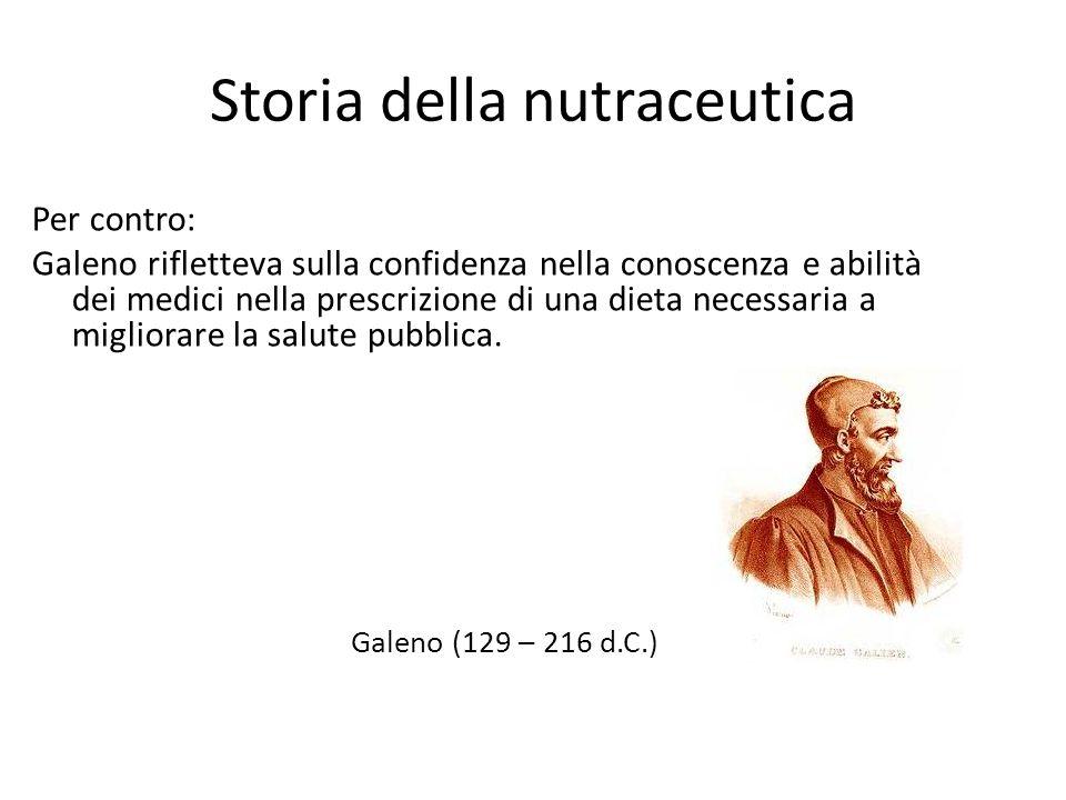 Storia della nutraceutica Per contro: Galeno rifletteva sulla confidenza nella conoscenza e abilità dei medici nella prescrizione di una dieta necessa