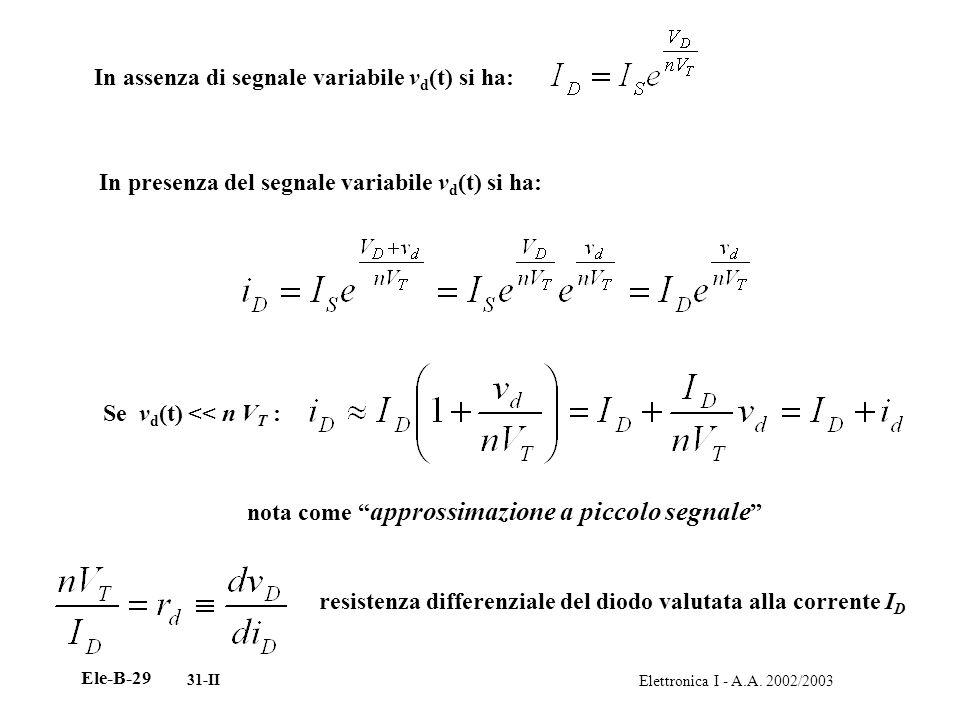 Elettronica I - A.A. 2002/2003 Ele-B-29 31-II In assenza di segnale variabile v d (t) si ha: In presenza del segnale variabile v d (t) si ha: Se v d (