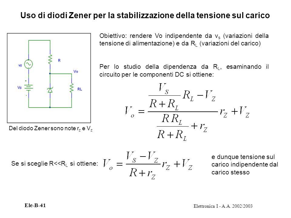 Elettronica I - A.A. 2002/2003 Ele-B-41 Uso di diodi Zener per la stabilizzazione della tensione sul carico Obiettivo: rendere Vo indipendente da v s
