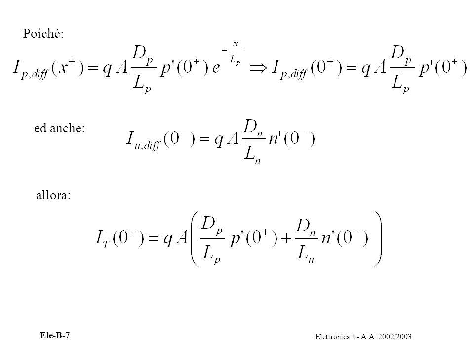 Elettronica I - A.A. 2002/2003 Ele-B-7 Poiché: ed anche: allora: