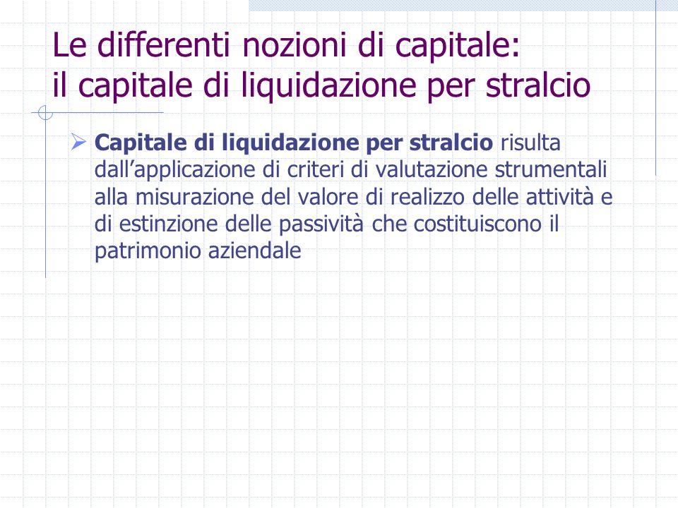 La nozione di capitale Il capitale costituisce una categoria concettuale che non si presta ad una definizione generale, poiché assume configurazioni d