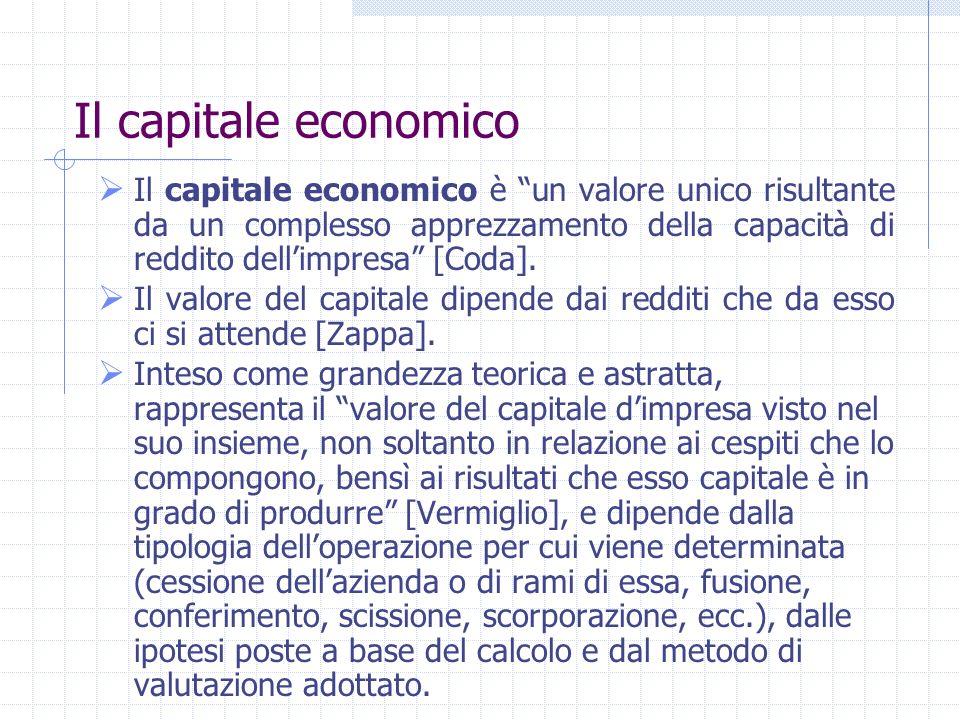 Le differenti nozioni di capitale: il capitale di liquidazione per stralcio Capitale di liquidazione per stralcio risulta dallapplicazione di criteri