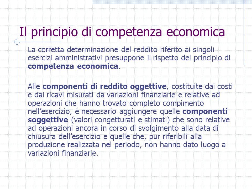 Il principio di competenza economica La corretta determinazione del reddito riferito ai singoli esercizi amministrativi presuppone il rispetto del principio di competenza economica.