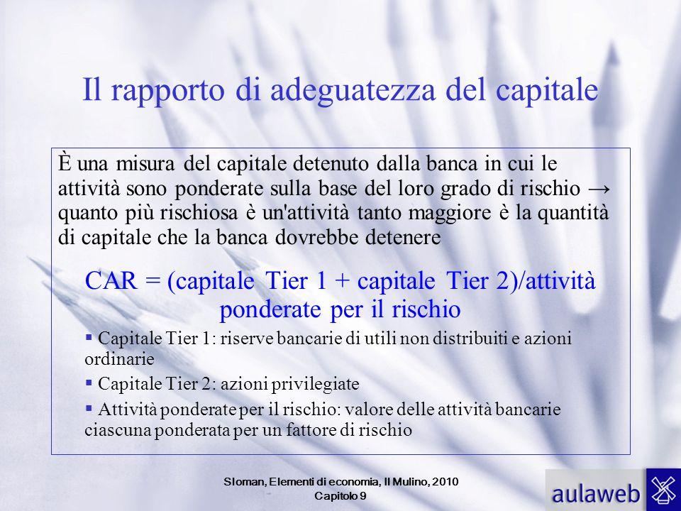 Sloman, Elementi di economia, Il Mulino, 2010 Capitolo 9 Il rapporto di adeguatezza del capitale È una misura del capitale detenuto dalla banca in cui