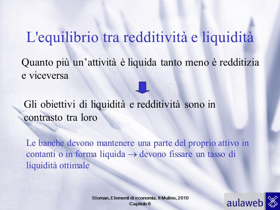 Sloman, Elementi di economia, Il Mulino, 2010 Capitolo 9 L'equilibrio tra redditività e liquidità Quanto più unattività è liquida tanto meno è redditi