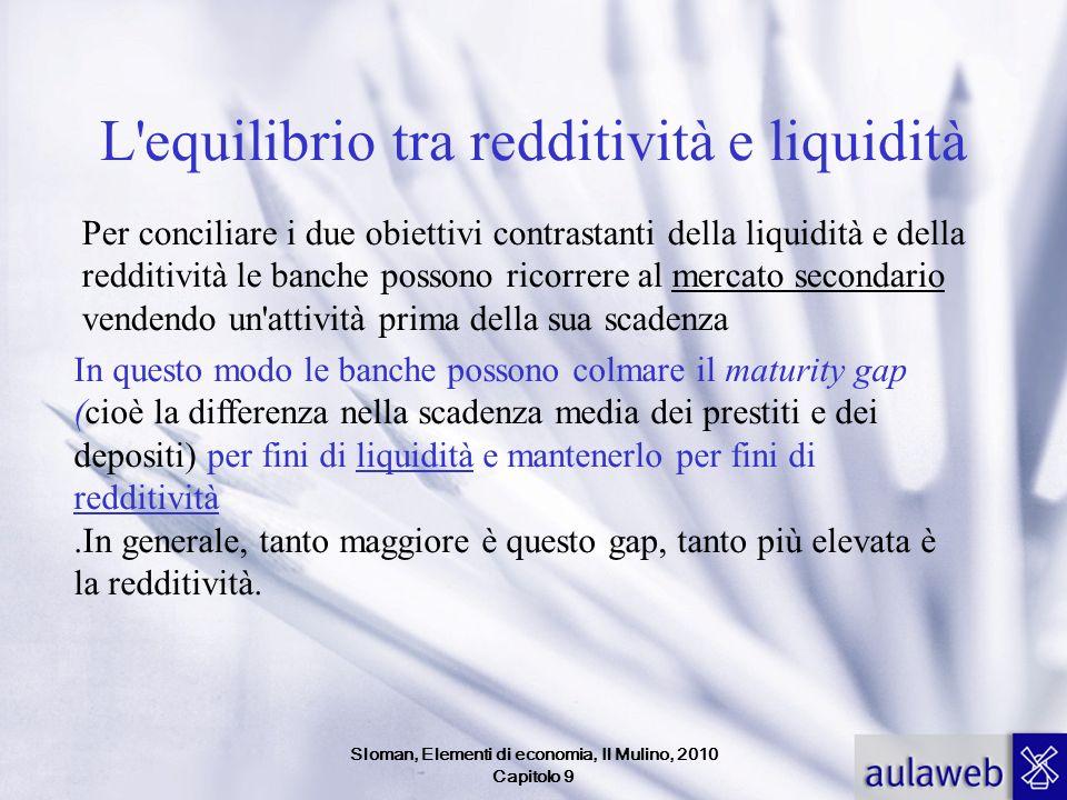 Sloman, Elementi di economia, Il Mulino, 2010 Capitolo 9 L'equilibrio tra redditività e liquidità Per conciliare i due obiettivi contrastanti della li