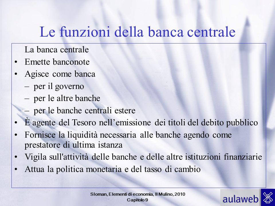 Sloman, Elementi di economia, Il Mulino, 2010 Capitolo 9 Le funzioni della banca centrale La banca centrale Emette banconote Agisce come banca – per i