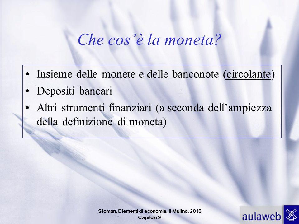 Sloman, Elementi di economia, Il Mulino, 2010 Capitolo 9 Quanta moneta domandiamo.