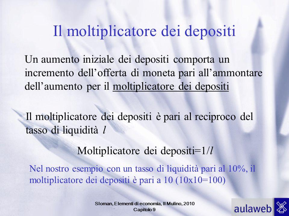 Sloman, Elementi di economia, Il Mulino, 2010 Capitolo 9 Il moltiplicatore dei depositi Un aumento iniziale dei depositi comporta un incremento dellof