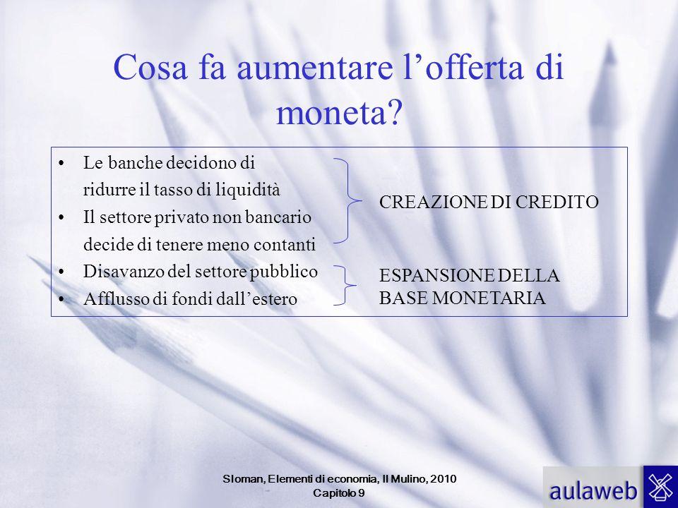 Sloman, Elementi di economia, Il Mulino, 2010 Capitolo 9 Cosa fa aumentare lofferta di moneta? Le banche decidono di ridurre il tasso di liquidità Il