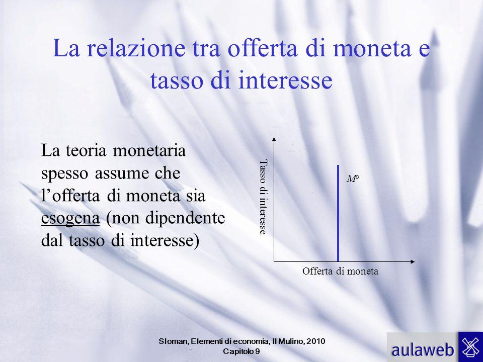 Sloman, Elementi di economia, Il Mulino, 2010 Capitolo 9 La relazione tra offerta di moneta e tasso di interesse La teoria monetaria spesso assume che
