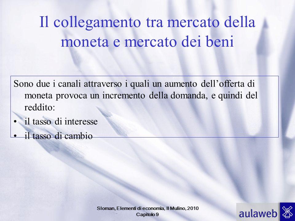 Sloman, Elementi di economia, Il Mulino, 2010 Capitolo 9 Il collegamento tra mercato della moneta e mercato dei beni Sono due i canali attraverso i qu
